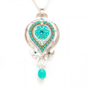 Turquoise Enamel Silver Necklace by Ester Shahaf