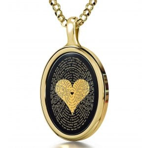 I Love You Onyx Pendant in 120 Languages - Gold Plate