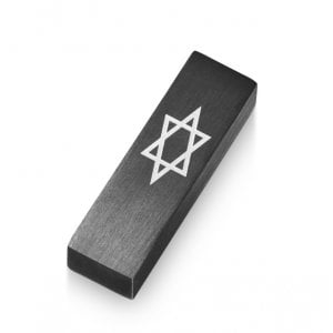 Adi Sidler Anodized Aluminum Car Mezuzah, Star of David - Black