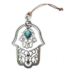 Two Hamsa Wall Hanging with Light Blue Stone