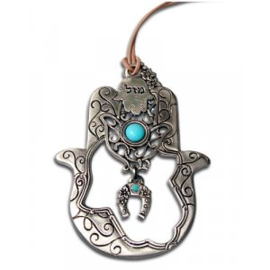 Turqoise stone Hamsa with Horseshoe