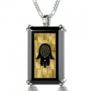 Nano Jewelry Silver Jewish Pendant For Men Hamsa With The Traveler's Prayer