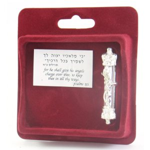 Silver Plated Car Mezuzah with Visible Scroll - Divine Name and Crown Design