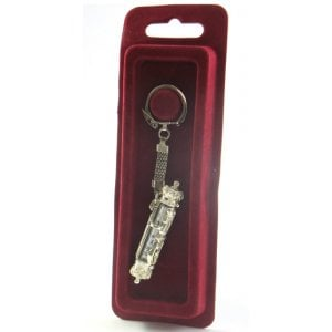 Silver Key Chain Car Mezuzah - Scroll Style