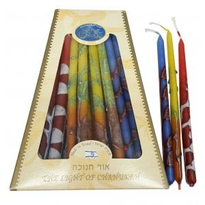 Hand Crafted Dripless Safed Hanukah Candles - Multicolor