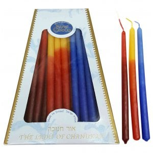Handmade Safed Dripless Hanukkah Candles - Light Blue and Fire Colors