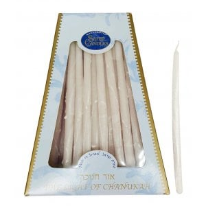 Handmade Safed Dripless Hanukkah Candles - Pure White