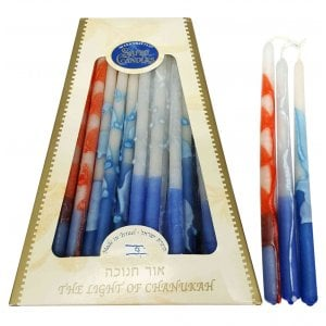 Handmade Safed Dripless Hanukkah Candles - Primary Colors