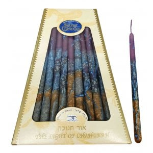 Handmade Safed Dripless Hanukkah Candles - Gold Purple and Turquoise