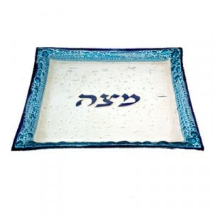 Itay Mager Fused Glass Passover Matzah Plate - Shimmering Blue and White