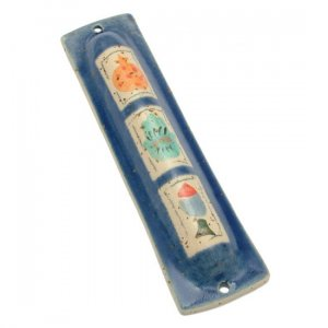 Blue Ceramic Mezuzah Case with Three Elements