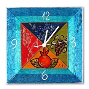 Hand Painted Wooden Clock by Kakadu - Blue Dream Fields