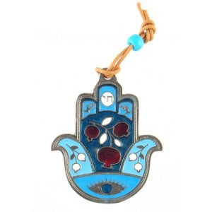 Hamsa Wall Decoration with Good Luck Symbols and Pomegranates - Blue