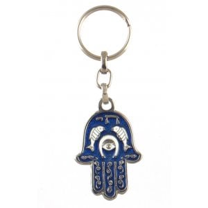 Hamsa Keychain with Fish, Horseshoe and Hebrew Chai - Purple
