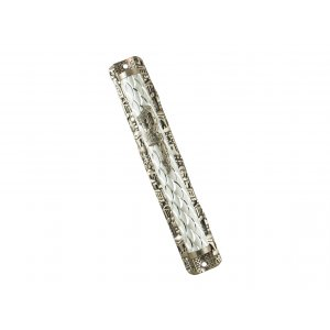Metal Mezuzah Case with Diamond Design and Jerusalem Images Frame