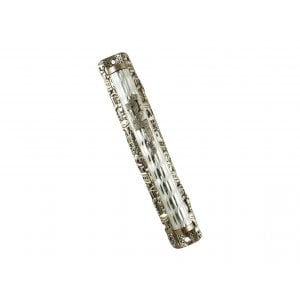 Diamond Design Metal Mezuzah Case with Jerusalem Images Frame
