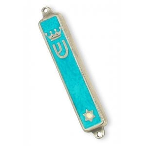 Small Gold Plated Mezuzah Case, Crown and Star of David - Turquoise