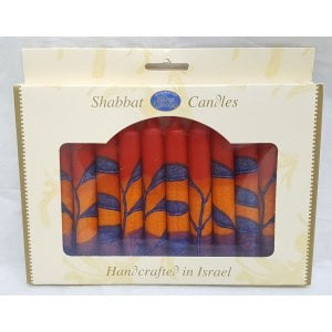 Kosher Safed Shabbat Candles - Red-Blue