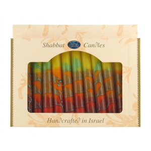 Kosher Safed Shabbat Candles - Lively Colors