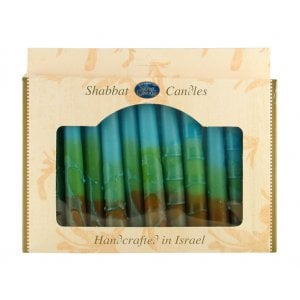 Kosher Safed Shabbat Candles - Brown-Green-Turquoise