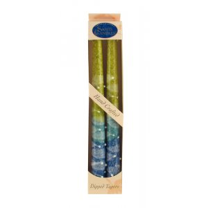 Pair of Kosher Safed Candle Tapers - Blue-Aqua-Yellow