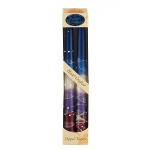Pair of Kosher Safed Candle Tapers - Shades of Violet