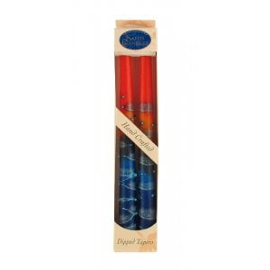 Pair of Kosher Safed Candle Tapers - Blue-Gray-Red