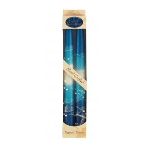 Pair of Kosher Safed Candle Tapers - Turquoise-Blue