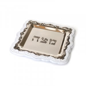 Silver Plated Matzah Tray on White Crazed Wood Base