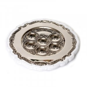 Round Silver Plated Passover Plate on White Crazed Wood Base