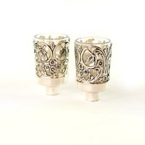 Pair of Glass Oil/Candlestick Inserts with Silver Plated Floral Design