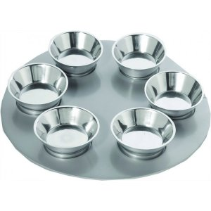 Yair Emanuel Anodized Aluminum Seder Plate with Six Bowls - Gleaming Silver