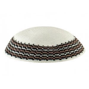 White Knitted DMC Kippah - Brown-Black Rim