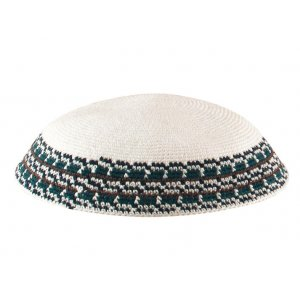 White Knitted DMC Kippah with Green and black border