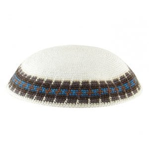 White Knitted DMC Kippah - Gray and Light Blue Border