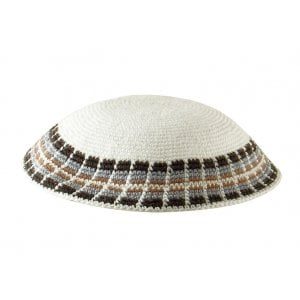 White Knitted DMC Kippah - Gray and tan diagonal border