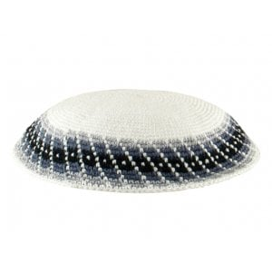 White Knitted DMC Kippah - Blue Diagonal Design