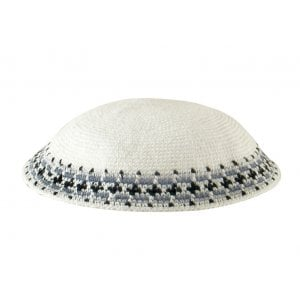 White Knitted DMC Kippah - Gray-Blue-Black Rim