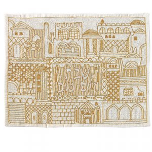 Yair Emanuel Hand Embroidered Challah Cover, Gold - Jerusalem Views