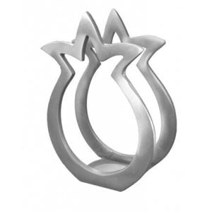 Yair Emanuel Aluminum Napkin Serviette Holder, Pomegranate Shape - Silver