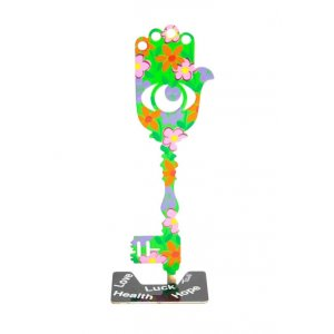 Tzuki Art Hand Painted Flower Decorated Key Hamsa on Stand - Green and Orange