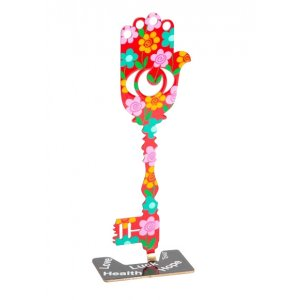 Tzuki Art Hand Painted Flower-Decorated Key Hamsa on Stand - Pink and Red