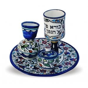 4-Piece Ceramic Armenian Design Havdalah Set - Colorful Blue Flowers