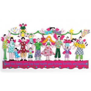 Tzuki Art Hand Painted Wall Sculpture with Bless this Family in English - Violet