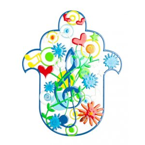 Tzuki Art Hand Painted Hamsa Musical Notes - Shades of Blue