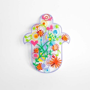 Tzuki Art Hand Painted Hamsa Musical Notes - Multicolor