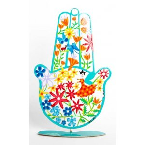 Tzuki Art Hand Painted Hamsa with Stand, Flower Display - Green Frame