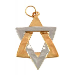 Gold Filled Elongated Two Tone Star of David Pendant