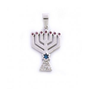 Gold Filled Menorah Pendant with Zircons