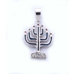 Gold Filled Menorah Pendant with Blue Enamel and Zircons